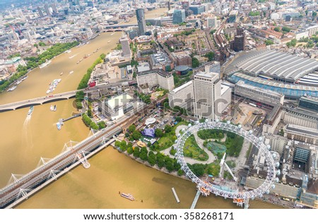 Spectacular aerial view of London, UK. - stock photo