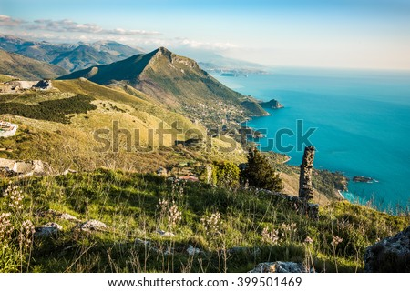 Spectacular aerial view of Maratea. Coast of Basilicata in southern Italy - stock photo