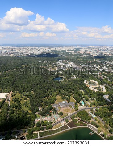 Spectacular aerial view (340 ���¼) of Moscow, Russia. View from Ostankino television tower