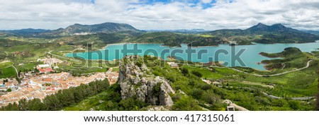 Spectacular aerial view panorama of Lake Zahara from Castle of Zahara de la Sierra, a famous village de la Ruta de los Pueblos Blancos, white villages, between Cadiz and Malaga, Andalusia, Spain.
