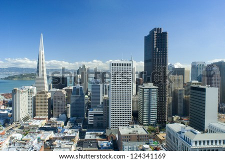 spectacular cityscape of san francisco on a sunny day - stock photo