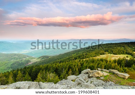 Spectacular clouds and amazing view from Skalisko mountain during sunrise in Eastern Slovakia - stock photo