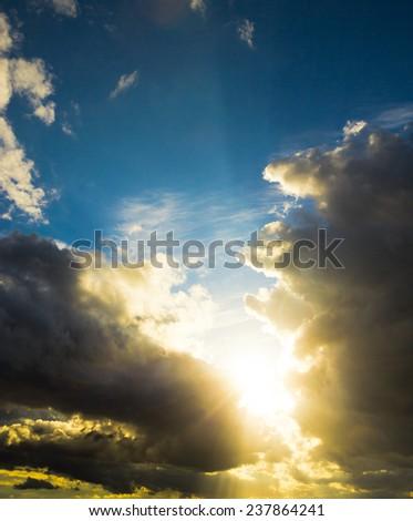 Spectacular Cloudscape Sunshine Breaking  - stock photo