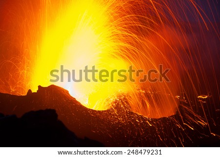 spectacular eruption of the Stromboli volcano. Italy - stock photo