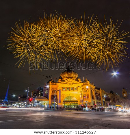 Spectacular Fireworks over Melbourne Sky - stock photo