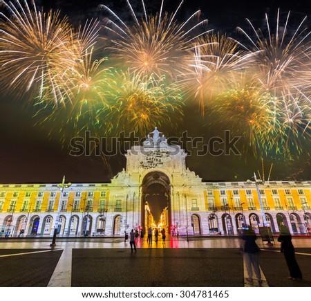Spectacular Fireworks over Praca de Comercio in Lisbon, Portugal. - stock photo