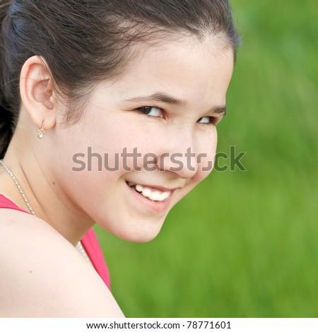 spectacular fresh smile of little girl - stock photo
