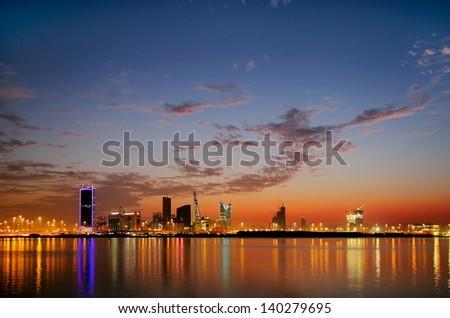 Spectacular HDR photograph of Bahrain Skyline - stock photo