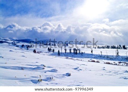 Spectacular landscape with dramatic clouds on Harsh winter in yellowstone