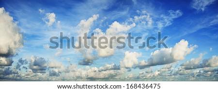 Spectacular morning sky. Panoramic shot. - stock photo