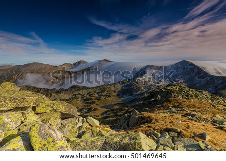Spectacular mountain scenery in the Alps, with sea of clouds