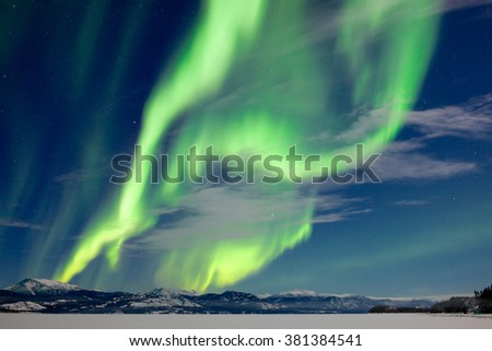 Spectacular Northern Lights or Aurora borealis or polar lights dancing over moon-lit winter landscape of frozen Lake Laberge, Yukon Territory, Canada - stock photo