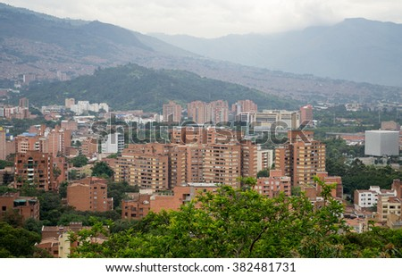 Spectacular panorama of Medellin, Colombia - stock photo