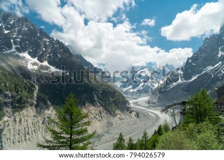 Spectacular panorama of Mer de Glace, Aiguille du Dru and Aiguille Verte seen from Le Montenvers, French Alps near Chamonix, Haute-Savoie, France.