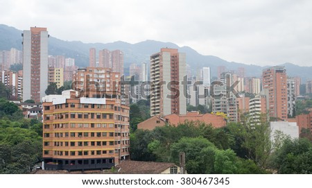 Spectacular panorama of modern South American city Medellin, Colombia - stock photo