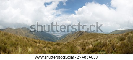 Spectacular panoramic view of the mountain and Quito, the capital of Ecuador in the background. - stock photo