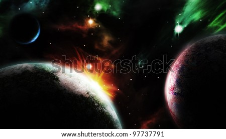 spectacular scene of three planets on the cosmos as background. - stock photo