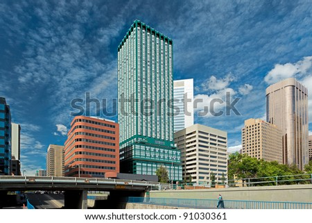 Spectacular sky in Downtown Calgary - stock photo