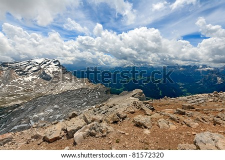 Spectacular skyscape in the Fanes National park in the Dolomites