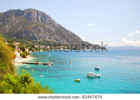 spectacular summer landscape of dalmatia in Brist and Gradac, croatia - stock photo