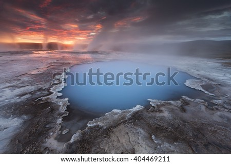 Spectacular sunrise at Hveravellir geothermal pool in Iceland - stock photo
