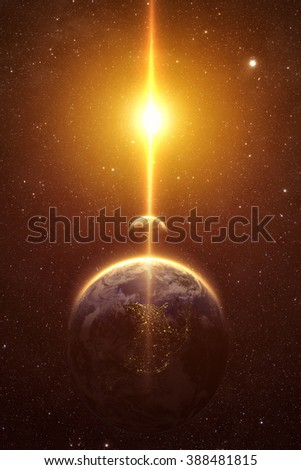 spectacular sunrise view over Planet Earth and moon. Elements of this image furnished by NASA - stock photo
