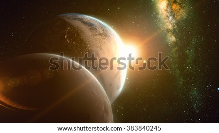 spectacular sunrise view over Planet Earth and moon with milkyway in background. Elements of this image furnished by NASA - stock photo