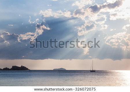 Spectacular sunset after a storm in Dubrovnik bay Croatia - stock photo