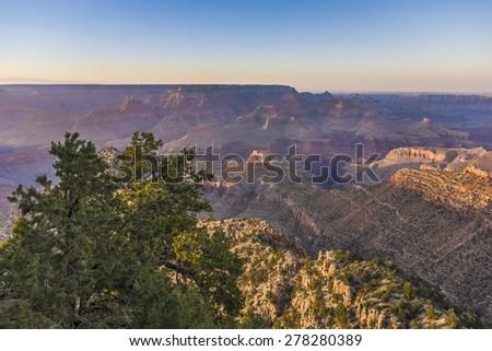 spectacular sunset at Grand canyon in Arizona - stock photo