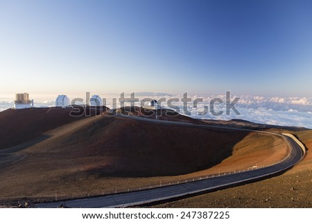 spectacular sunset from mauna kea - hawaii island - stock photo