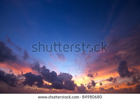 Spectacular sunset sky - stock photo