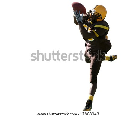 Spectacular Touchdown Catch by receiver in American Football Game. - stock photo