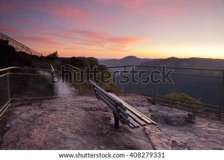 Spectacular twilight dawn skies over Pulpit Rock, Blackheath, with scenic views overlooking the Grose Valley with Mount Banks
