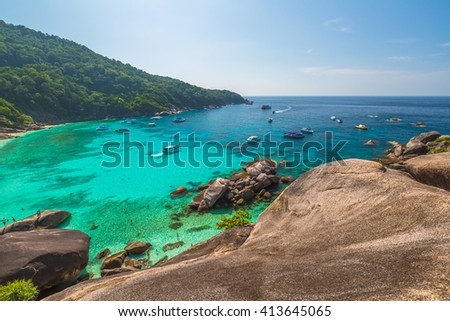 Spectacular view from Sail Rock View Point of Kor 8 of Similan Islands National Park, Phang Nga, Thailand, one of the tourist attraction of the Andaman Sea. - stock photo