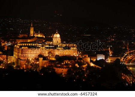 Spectacular view of beautiful Budapest at night - Hungary - stock photo
