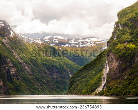 Spectacular view of beautiful Geirangerfjord, Norway