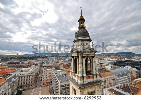 Spectacular view of Budapest from St. Istvan Basilica - Hungary - stock photo