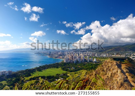 Spectacular view of Honolulu city, Oahu, Hawaii - stock photo