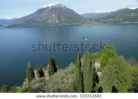 spectacular view of Lake Como seen from the castle of Vezio in Varenna, Milano, Lombardy, Italy, Europe - stock photo