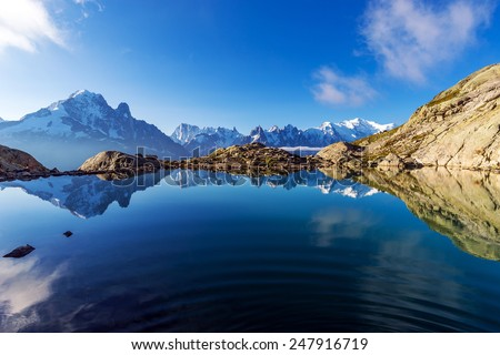 Spectacular View of Mont Blanc and Aiguille Verte Reflections in Lac Blanc, Graian Alps, France. - stock photo
