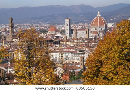 spectacular view of monumental town of Florence in autumnal colors, Unesco world culture heritage site, Italy, Europe - stock photo