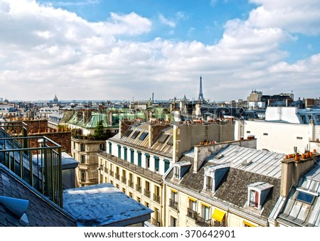 Spectacular view of Paris, capital of France - stock photo