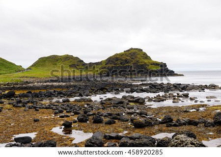 Spectacular view of the Giant's Causeway and Causeway Coast, the result of an ancient volcanic eruption UNESCO World Heritage Site