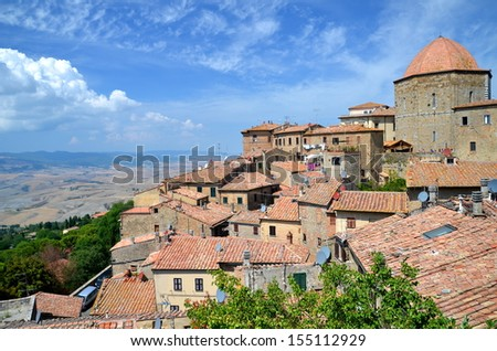 Spectacular view of the old town of Volterra in Tuscany, Italy - stock photo