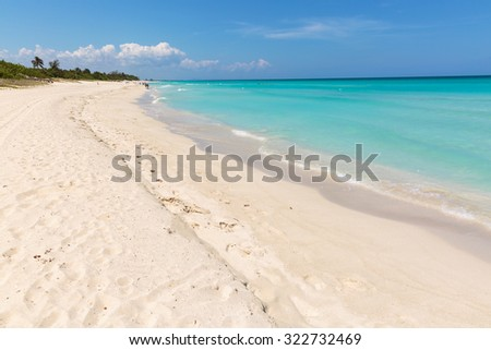 Spectacular view on the famous Varadero sand beach in Cuba - stock photo