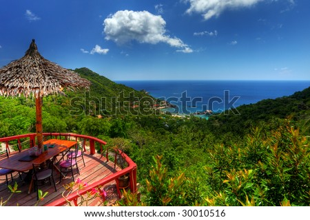 spectacular view to a paradise bay - koh tao - thailand (HDR) - stock photo