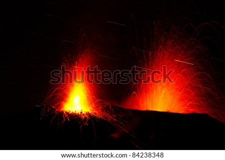 spectacular volcano eruption - stock photo