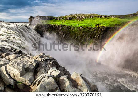 Spectacular waterfall Dettifoss in Iceland - stock photo