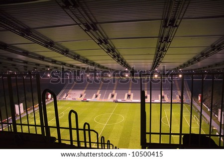 Spectator's perspective of an empty Stadium - stock photo