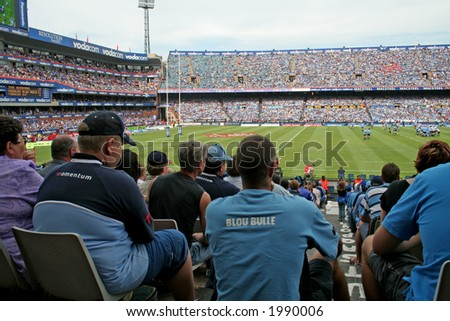 Spectators at a rugby match